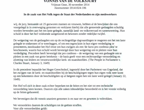 Vonnis in de zaak tegen de Staat der Nederlanden: Aktenummer: 20141024-106
